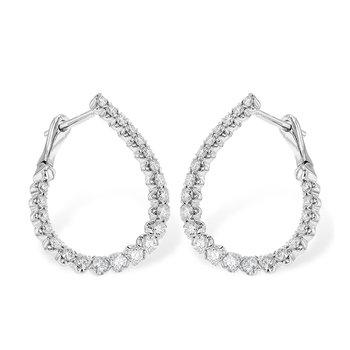 14KW Diamond Hoop Earrings w/ 1.00 ctw