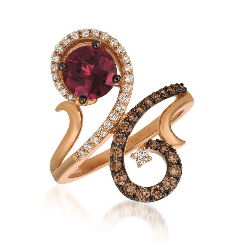 Le Vian In Stock 14KR Fashion Diamond & Rhodolite Garnet Ring w/ 0.53ct Diamond & 1.20ct Garnet, Size 6