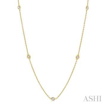 """14KY Diamond Station Necklace w/ 0.50 ctw 18"""" Chain"""