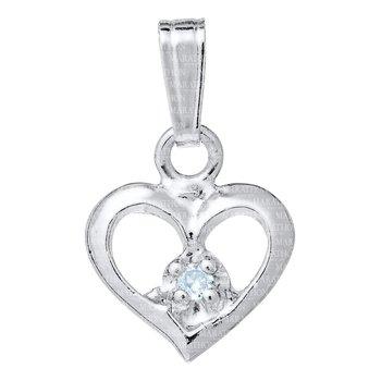 Sterling Silver Open Heart Cross Pendant Genuine Diamond