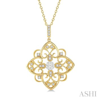 """14KY Floral Heart Lovebright Pendant 0.30 ctw,  18"""" Chain"""