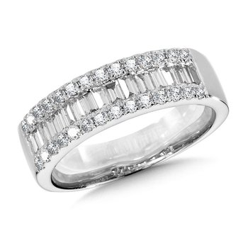 14KW Diamond Baguette and Round Band w/ 0.75 ctw Size 7