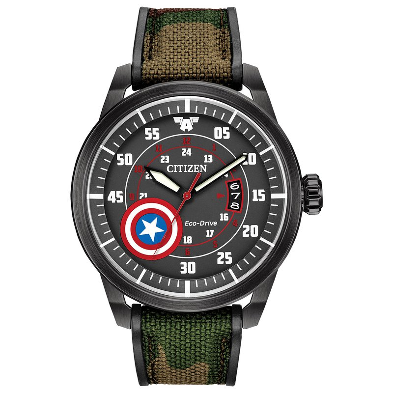 Citizen Watches in Stock Stainless Steel Marvel (Captain America) Eco-Drive Watch w/ Camouflage Straps
