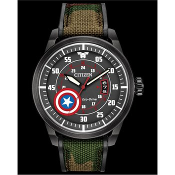 Stainless Steel Marvel (Captain America) Eco-Drive Watch w/ Camouflage Straps