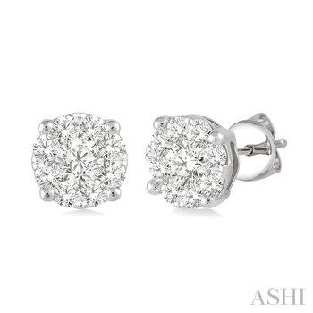 """14KW """"Lovebright"""" Diamond Cluster Earrings w/ 0.75 ctw"""