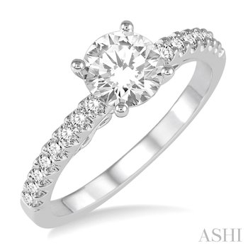14KW Diamond Engagement Ring Semi Mount w/ 0.25 ctw, Size 7