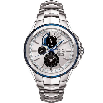 Stainless Steel Chronograph Solar Watch w/ Calendar, Alarm, & Lumibright Hands and Markers