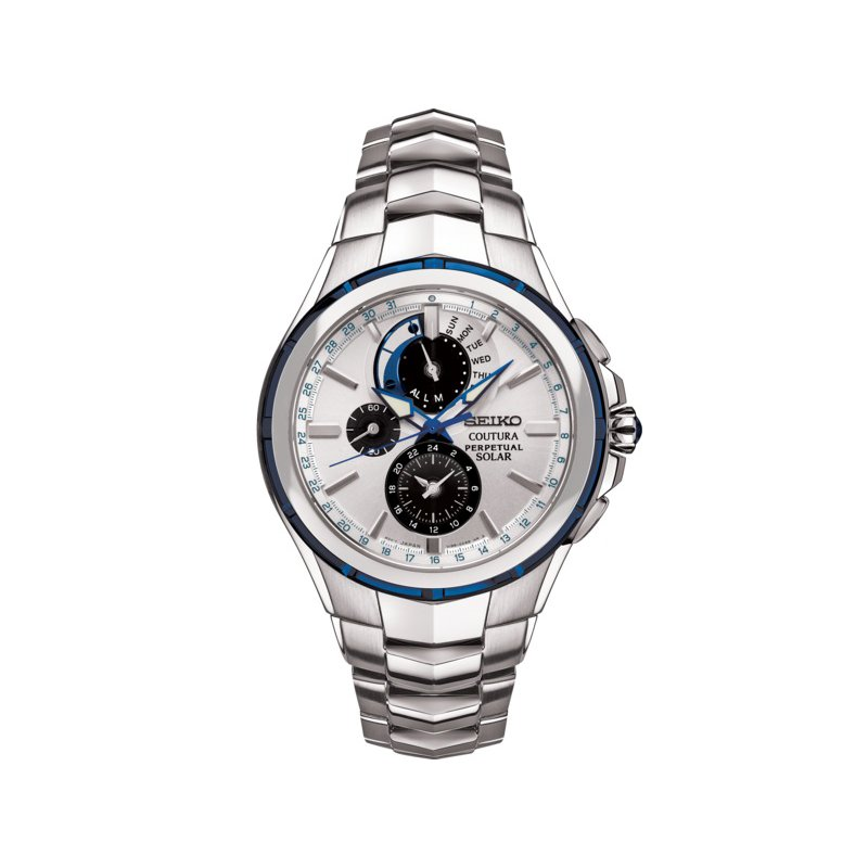 Seiko Watches In Stock Stainless Steel Chronograph Solar Watch w/ Calendar, Alarm, & Lumibright Hands and Markers