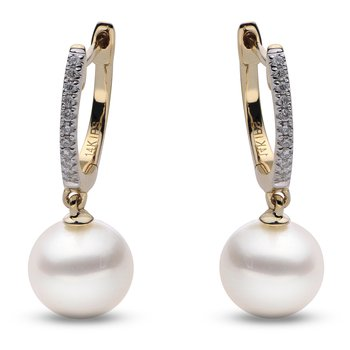 14KY White Freshwater Pearl and Diamond Earrings w/ 8 -- 8.5 mm Pearls & 0.03 ctw Dia.