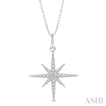 """10KW Diamond Star Necklace w/ 0.15 ctw 18"""" Chain"""