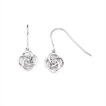 Sterling Silver Earrings Jewelry With 2 Round Diamonds w/ 0.04 ctw
