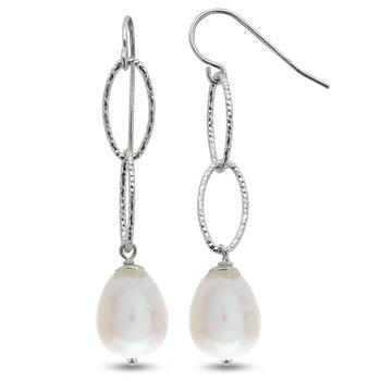 Sterling Silver Freshwater Pearl Station Oval Earrings w/ 8.5 -- 9.0 mm Pearls