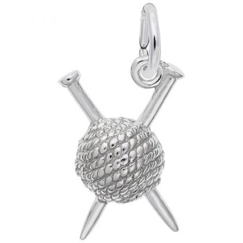 Sterling Silver Knitting Charm