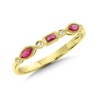 14KY Diamond & Ruby Ring w/ 0.02 ctw Dia. and 0.26 ctw Rby. Size 7