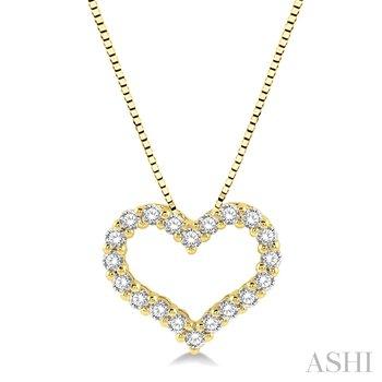 "14KY Diamond Heart Pendant w/ 0.50ctw 18"" Chain"