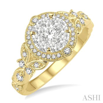 14KY Lovebright Engagement Ring w/ 0.60 ctw Size 6.75