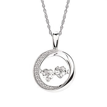 Sterling Silver Shimmering Double Heart White Sapphires in Circle Pendant and Chain w/ 0.11 ctw