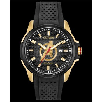 Stainless Steel Marvel Collection (Avengers) Eco-Drive w/ Black Rubber Straps