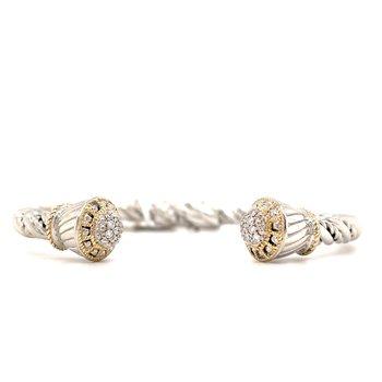 Italian Sterling Silver Diamond Bracelet w/ 14 KY Accents & 0.26 ctw