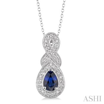 "Sterling Silver Sapphire and Diamond Pendant w/ 6 x 4 Sapph. & 0.03 ct Dia. 18"" Chain"