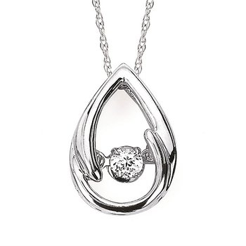 Sterling Silver Shimmering Diamond Pendant and Chain w/ 0.11 ctw