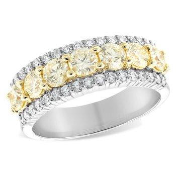 14K Two-Tone Diamond Wedding Ring w/ 1.20 ctw Yellow Dia. & 0.44ctw Wht Dia, Size 7