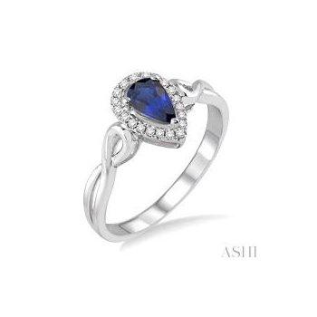 14KW Diamond & Pear Sapphire Ring w/ 0.10 ctw & 6 x 4 Sap., Size 7.25