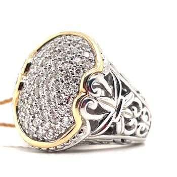 Italian Sterling Silver Diamond Fashion Ring w/ 0.75 ctw, Size 7, & 14KY Accents