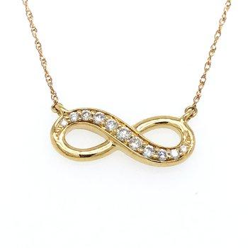 "10KY Round Cut Diamond Infinity Pendant w/ 0.15 ctw, 18"" Chain"