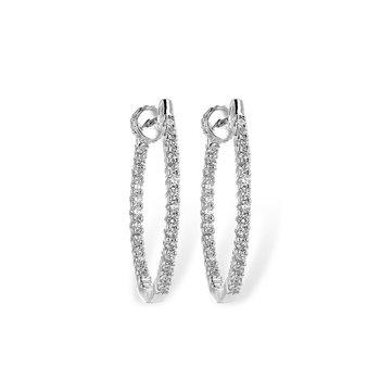14KW Medium Diamond Hoop Earrings w/ 0.50 ctw