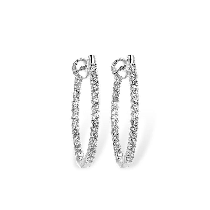 Green Brothers Collection 14KW Medium Diamond Hoop Earrings w/ 0.50 ctw