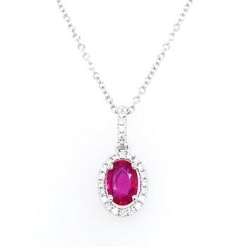 """14KRG Nude Diamonds & Oval Ruby w/ 0.09 ctw Dia. & 0.39 ctw Ruby, 18"""" Chain"""