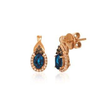 14KR Deep Sea Blue Topaz and Diamond Stud Earrings w/ 0.17 ct Dia. & 1.0 ct Tpz