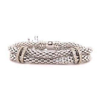 Sterling Silver Diamond Bracelet w/ 14K Y Accents & 0.4 ctw