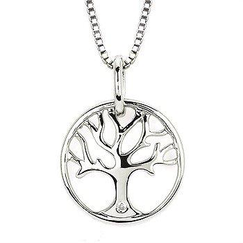 "Sterling Silver Diamond Tree Pendant w/ 0.01 ctw, 16-18"" Chain"