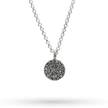 """Sterling Silver with Crystals Cosmos Disc Necklace 16"""" + 2"""""""