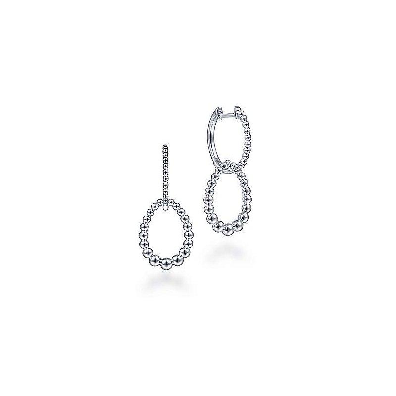 Gabriel & Co. Sterling Silver Beaded Huggie Drop Earrings