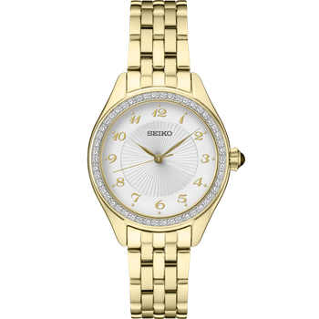 Stainless Steel Gold Tone Women's Watch w/ Crystals and Champagne Face