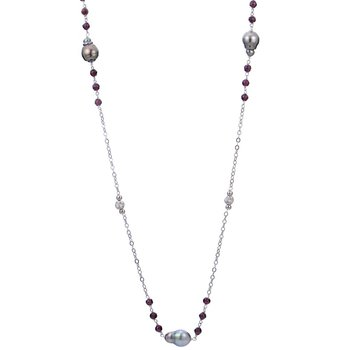 """Sterling Silver Tahitian Pearl and Garnet Necklace w/  8 -- 9 mm Pearls, 38"""" Chain"""