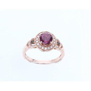 14KY Diamond & Rhodite Fashion Ring w/ 0.16 ctw Diamond & 0.90 ctw Rhodoite, Size 7