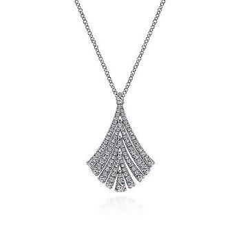 14KW Diamond Fashion Pendant w/ 0.64 ctw Adjustable Chain