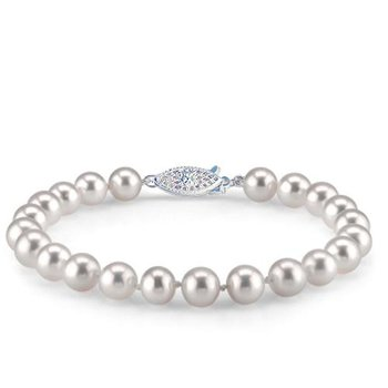"14KY Freshwater AA Pearl Bracelet w/ 7 -- 7.5 mm Pearls, 7.5"" Chain"