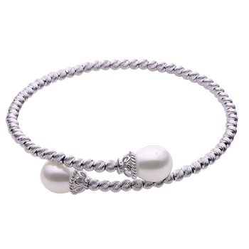 """Sterling Silver Freshwater Pearls Brilliance Bead Bangle w/ 8 -- 9 mm Pearls, 7.5"""""""