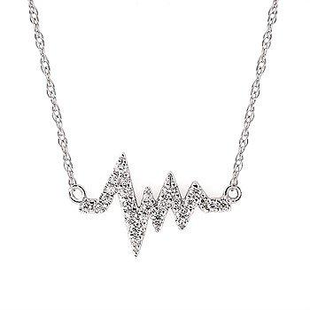 """14KW Diamond Heartbeat Necklace w/ 0.16 ctw, 16""""-18"""" Chain"""