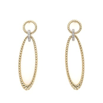 14KYW Twisted Rope & Diamond Connector Earrings