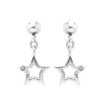 Sterling Silver Diamond Star Earrings