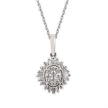 """14KW Diamond Pendant w/ 0.42 ctw, 18"""" Chain"""