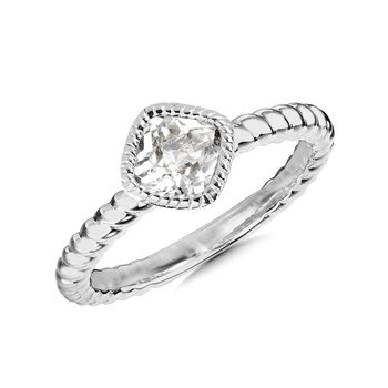 Sterling Silver Created White Sapphire Ring Size 7