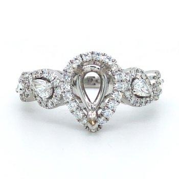 18KW Diamond Engagement Semi-Mount Ring w/ 0.60 ctw