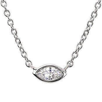 14KW Marquis Ladies Necklace w/ 0.1 ctw